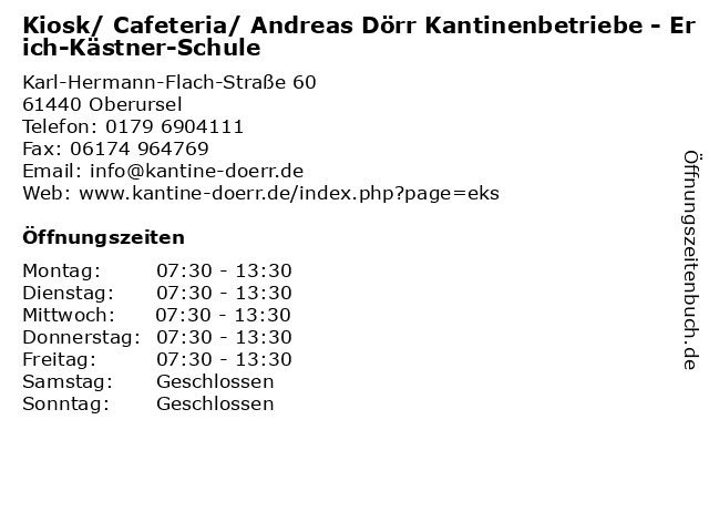 Kiosk/ Cafeteria/ Andreas Dörr Kantinenbetriebe - Erich-Kästner-Schule in Oberursel: Adresse und Öffnungszeiten