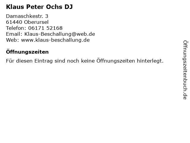 Klaus Peter Ochs DJ in Oberursel: Adresse und Öffnungszeiten