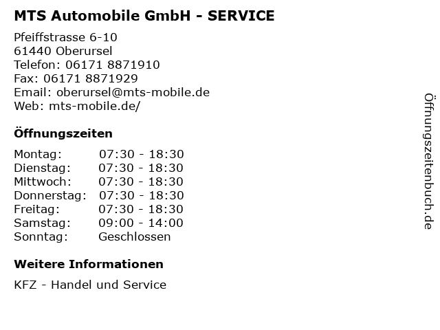 MTS Automobile GmbH - SERVICE in Oberursel: Adresse und Öffnungszeiten