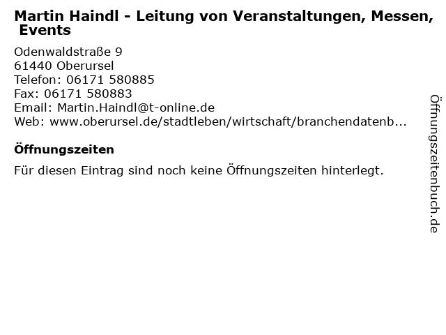 Martin Haindl - Leitung von Veranstaltungen, Messen, Events in Oberursel: Adresse und Öffnungszeiten