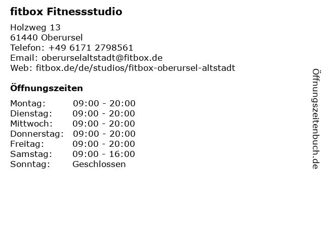Fitnessstudio Fitbox in Oberursel: Adresse und Öffnungszeiten