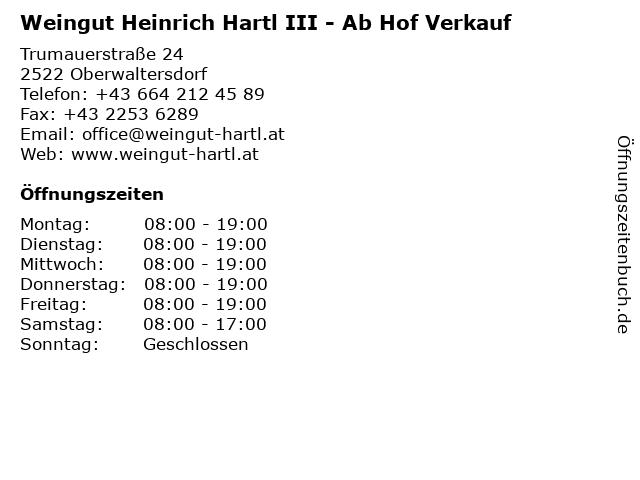 Weingut Heinrich Hartl III - Ab Hof Verkauf in Oberwaltersdorf: Adresse und Öffnungszeiten