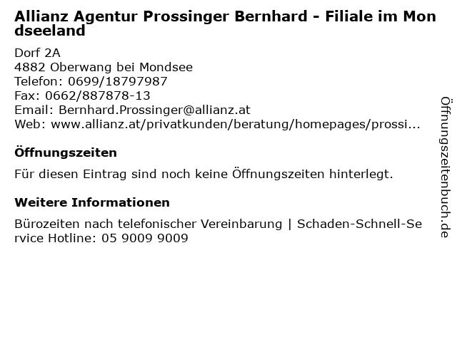 Allianz Agentur Prossinger Bernhard - Filiale im Mondseeland in Oberwang bei Mondsee: Adresse und Öffnungszeiten
