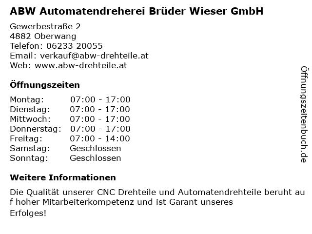 ABW Automatendreherei Brüder Wieser GmbH in Oberwang: Adresse und Öffnungszeiten