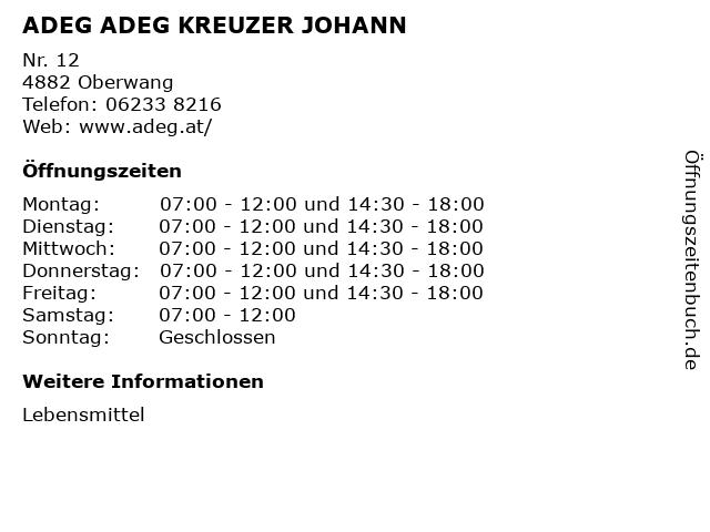 ADEG ADEG KREUZER JOHANN in Oberwang: Adresse und Öffnungszeiten