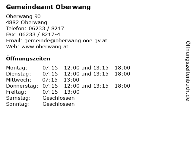 Gemeindeamt Oberwang in Oberwang: Adresse und Öffnungszeiten