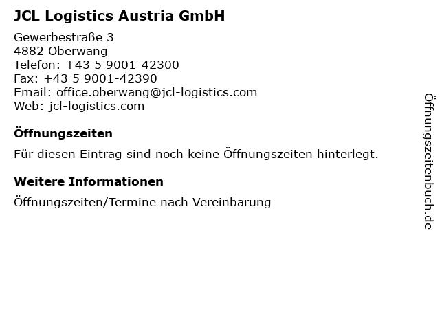 JCL Logistics Austria GmbH in Oberwang: Adresse und Öffnungszeiten