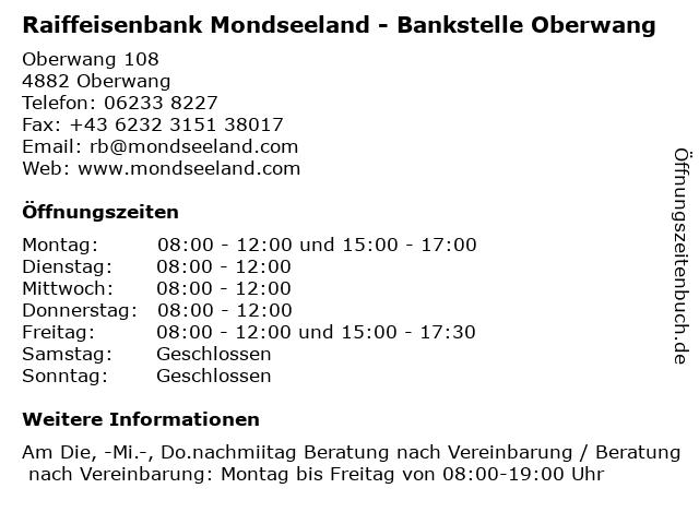 Raiffeisenbank Mondseeland - Bankstelle Oberwang in Oberwang: Adresse und Öffnungszeiten