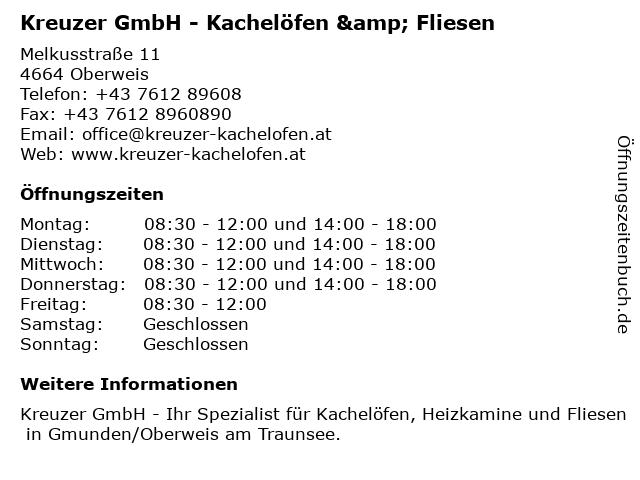 Kreuzer GmbH - Kachelöfen & Fliesen in Oberweis: Adresse und Öffnungszeiten