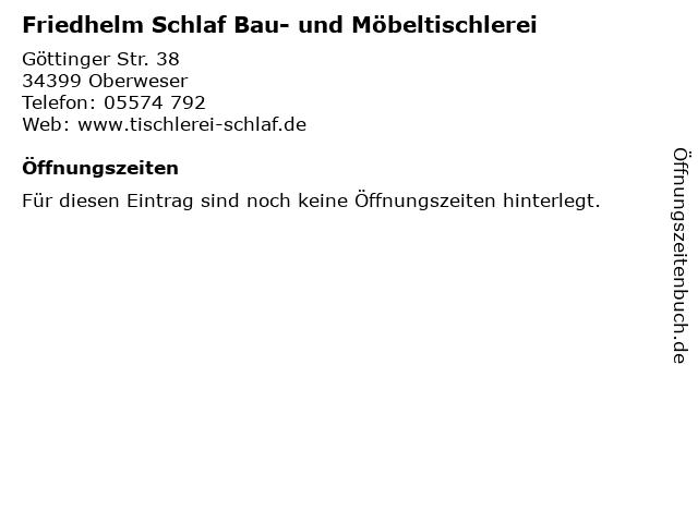 Friedhelm Schlaf Bau- und Möbeltischlerei in Oberweser: Adresse und Öffnungszeiten