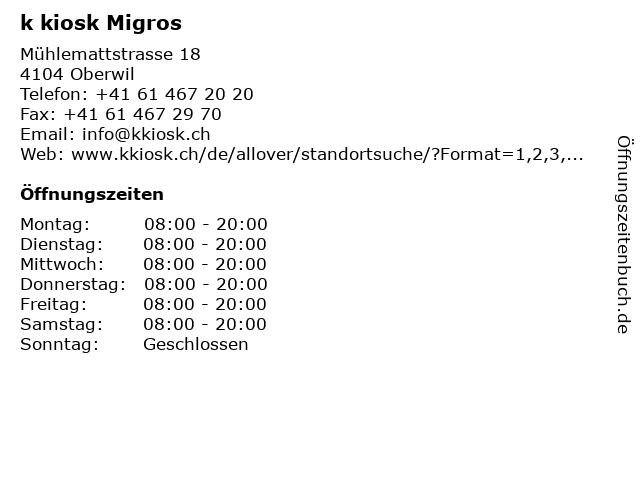 k kiosk Migros in Oberwil: Adresse und Öffnungszeiten