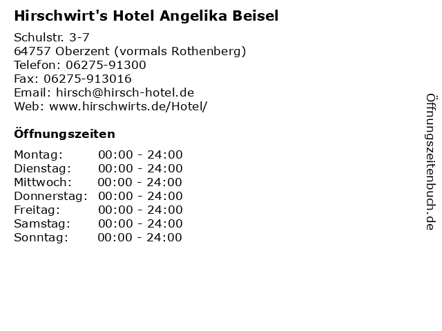 Hirschwirt's Hotel Angelika Beisel in Oberzent (vormals Rothenberg): Adresse und Öffnungszeiten