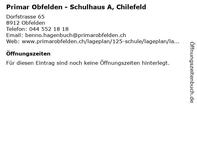 Primar Obfelden - Schulhaus A, Chilefeld in Obfelden: Adresse und Öffnungszeiten