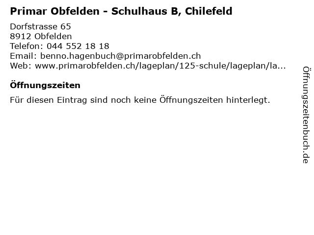 Primar Obfelden - Schulhaus B, Chilefeld in Obfelden: Adresse und Öffnungszeiten