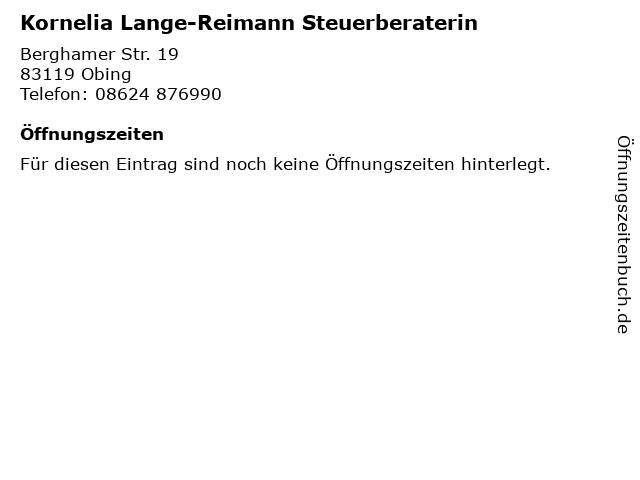 Kornelia Lange-Reimann Steuerberaterin in Obing: Adresse und Öffnungszeiten