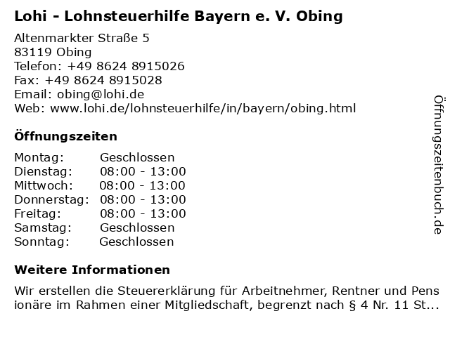 Lohi - Lohnsteuerhilfe Bayern e. V. Obing in Obing: Adresse und Öffnungszeiten