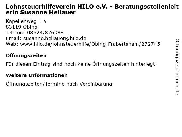 Lohnsteuerhilfeverein HILO e.V. - Beratungsstellenleiterin Susanne Hellauer in Obing: Adresse und Öffnungszeiten