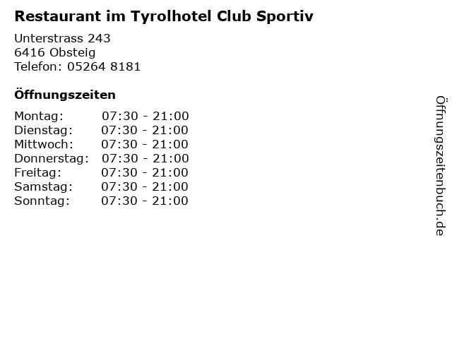 Restaurant im Tyrolhotel Club Sportiv in Obsteig: Adresse und Öffnungszeiten