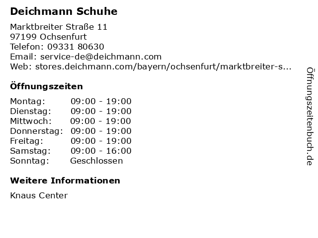 Deichmann Schuhe in Ochsenfurt: Adresse und Öffnungszeiten