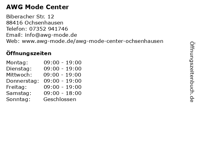 AWG Mode Center in Ochsenhausen: Adresse und Öffnungszeiten