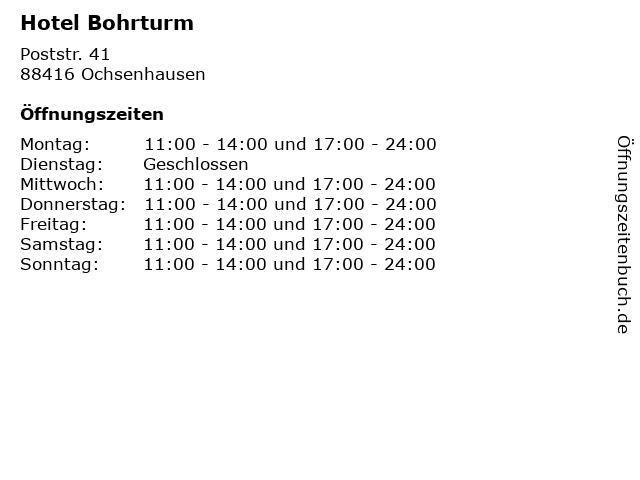 Hotel Bohrturm in Ochsenhausen: Adresse und Öffnungszeiten
