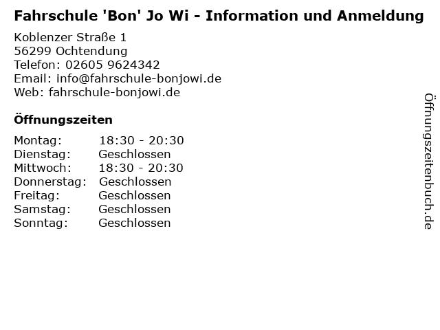Fahrschule 'Bon' Jo Wi - Information und Anmeldung in Ochtendung: Adresse und Öffnungszeiten