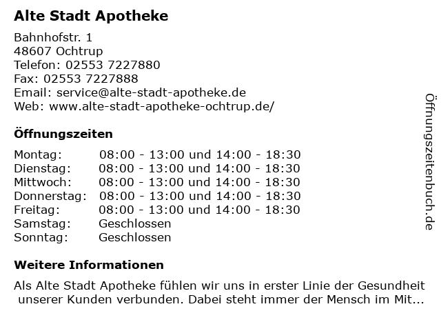 Alte Stadt-Apotheke in Ochtrup: Adresse und Öffnungszeiten