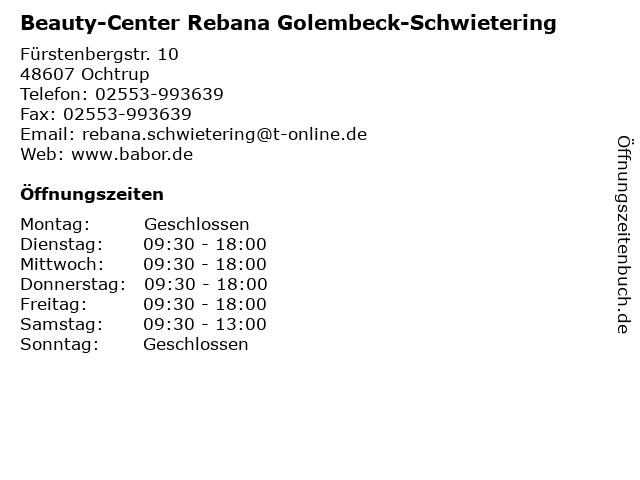 Beauty-Center Rebana Golembeck-Schwietering in Ochtrup: Adresse und Öffnungszeiten