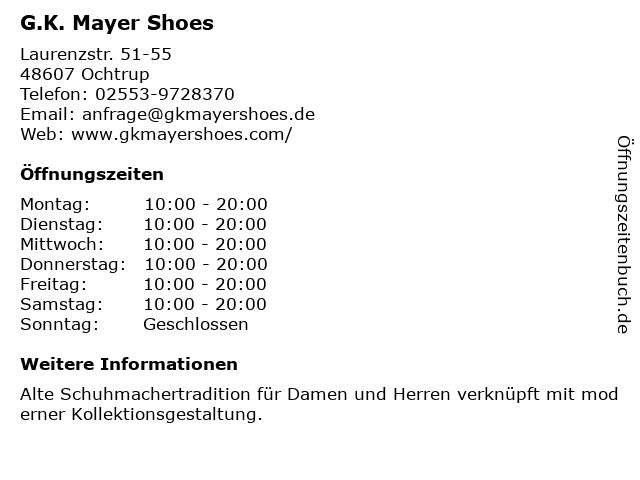 G.K. Mayer Shoes in Ochtrup: Adresse und Öffnungszeiten