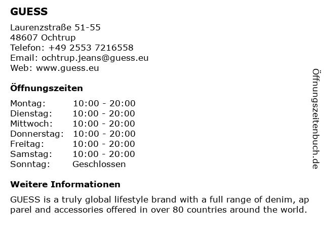 Guess (Mode) in Ochtrup: Adresse und Öffnungszeiten