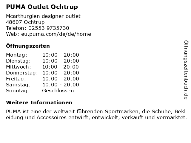 Puma in Ochtrup: Adresse und Öffnungszeiten