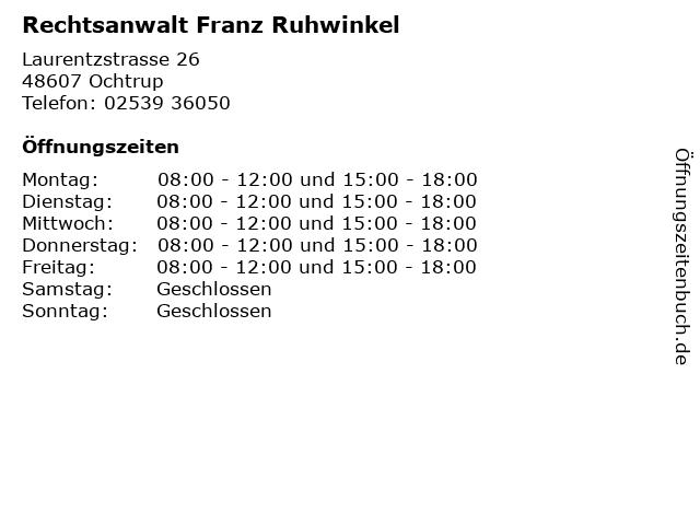 Rechtsanwalt Franz Ruhwinkel in Ochtrup: Adresse und Öffnungszeiten