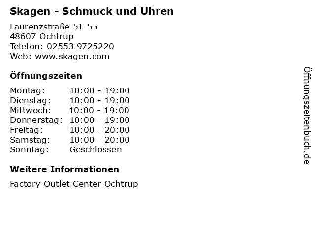 Skagen - Schmuck und Uhren in Ochtrup: Adresse und Öffnungszeiten
