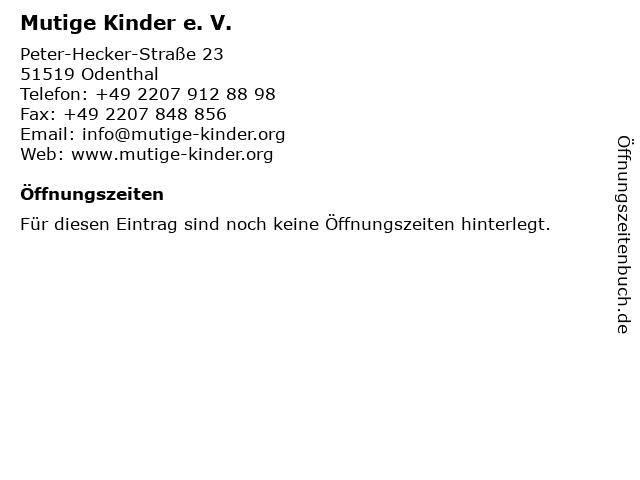 Mutige Kinder e. V. in Odenthal: Adresse und Öffnungszeiten