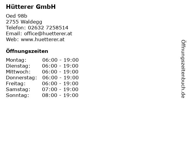 Hütterer GmbH - Tankstelle in Oed: Adresse und Öffnungszeiten