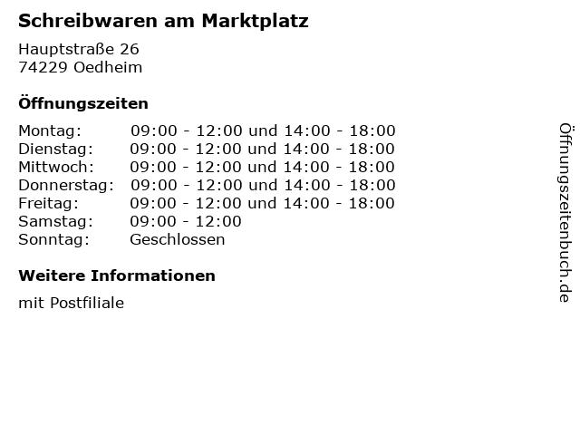 Schreibwaren am Marktplatz in Oedheim: Adresse und Öffnungszeiten