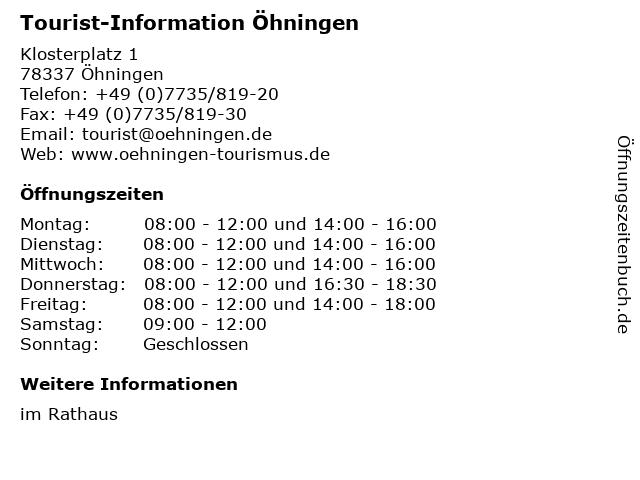Tourist-Information Öhningen in Öhningen: Adresse und Öffnungszeiten