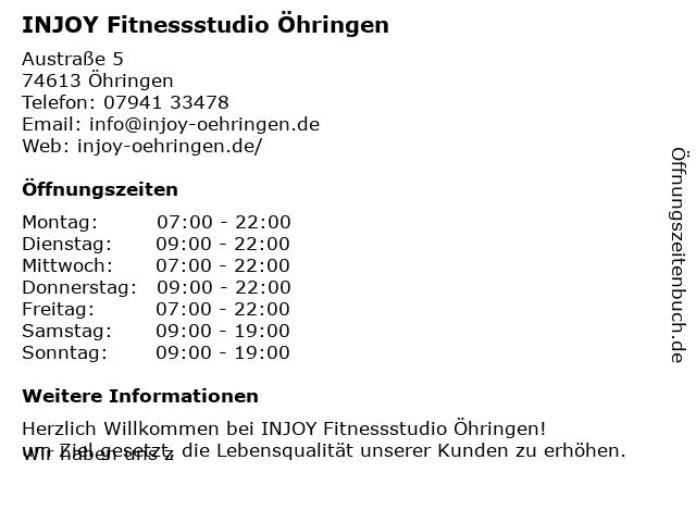 INJOY Fitness- & Wellnessclubs Öhringen in Öhringen: Adresse und Öffnungszeiten