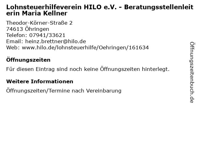 Lohnsteuerhilfeverein HILO e.V. - Beratungsstellenleiterin Maria Kellner in Öhringen: Adresse und Öffnungszeiten