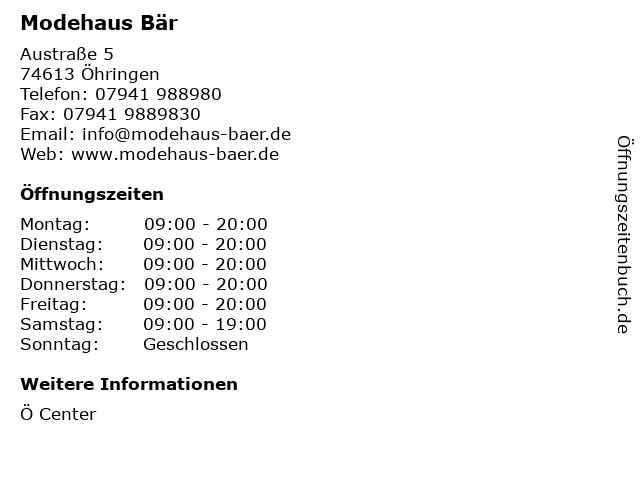 Modehaus Bär in Öhringen: Adresse und Öffnungszeiten