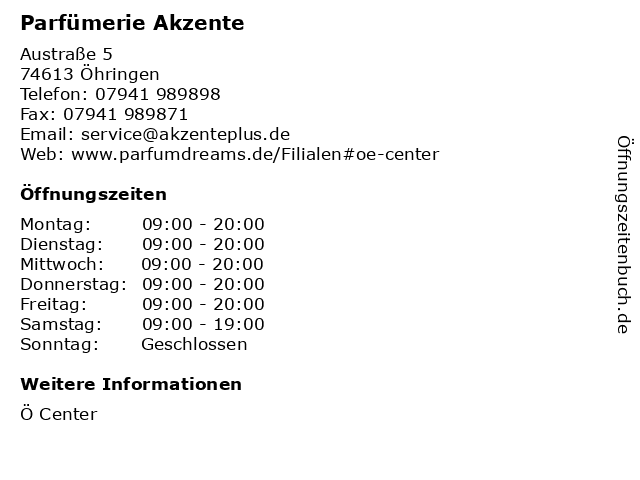 Parfümerie Akzente in Öhringen: Adresse und Öffnungszeiten