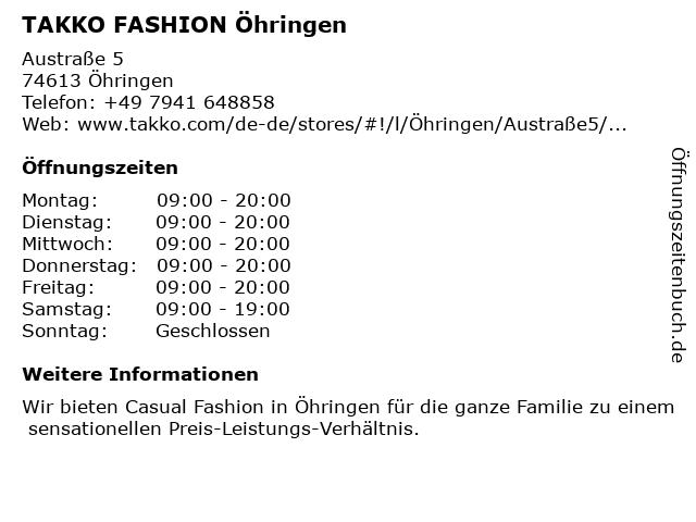 Takko Fashion in Öhringen: Adresse und Öffnungszeiten
