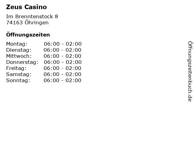 Zeus Casino in Öhringen: Adresse und Öffnungszeiten