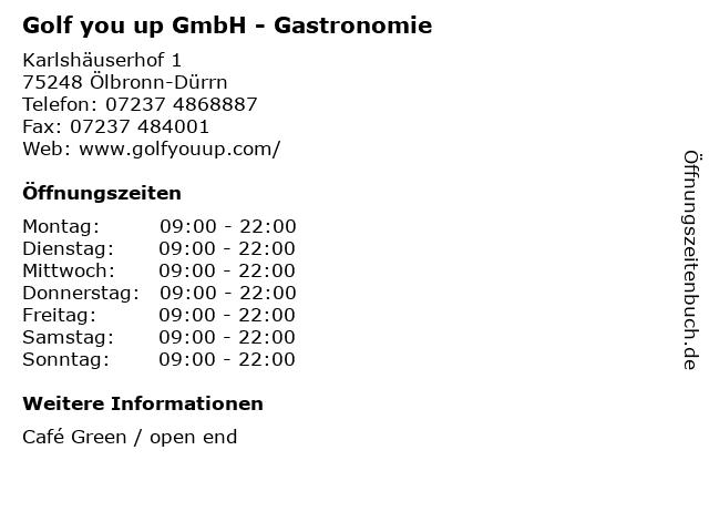 Golf you up GmbH - Gastronomie in Ölbronn-Dürrn: Adresse und Öffnungszeiten