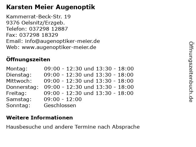 Karsten Meier Augenoptik in Oelsnitz/Erzgeb.: Adresse und Öffnungszeiten