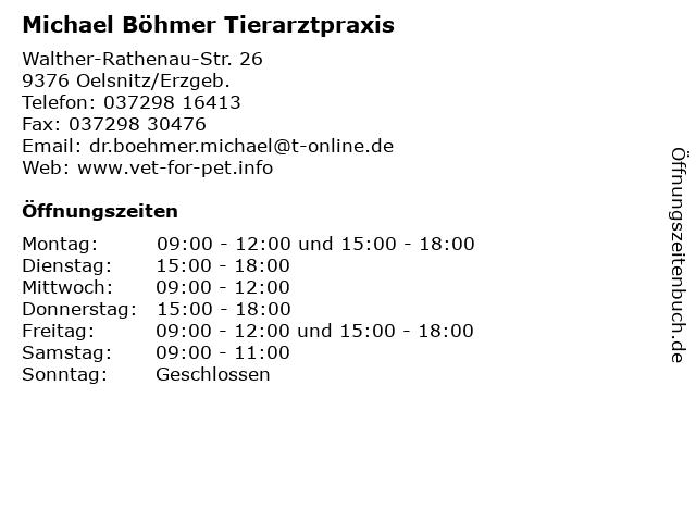 Michael Böhmer Tierarztpraxis in Oelsnitz/Erzgeb.: Adresse und Öffnungszeiten
