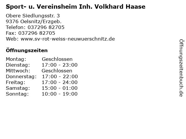Sport- u. Vereinsheim Inh. Volkhard Haase in Oelsnitz/Erzgeb.: Adresse und Öffnungszeiten