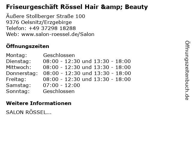 Friseurgeschäft Rössel Hair & Beauty in Oelsnitz/Erzgebirge: Adresse und Öffnungszeiten