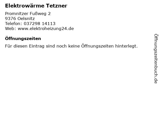 Elektrowärme Tetzner in Oelsnitz: Adresse und Öffnungszeiten