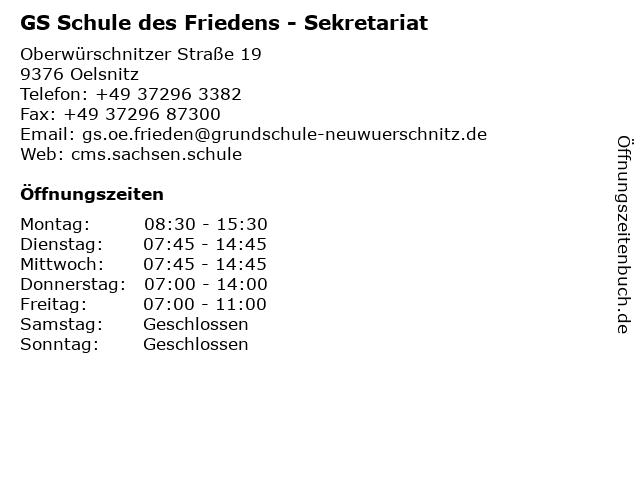 GS Schule des Friedens - Sekretariat in Oelsnitz: Adresse und Öffnungszeiten